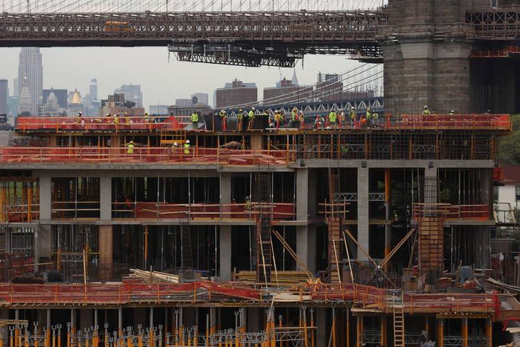 Luxury apartments under construction in Brooklyn Bridge Park in New York. Michael Appleton for The New York Times