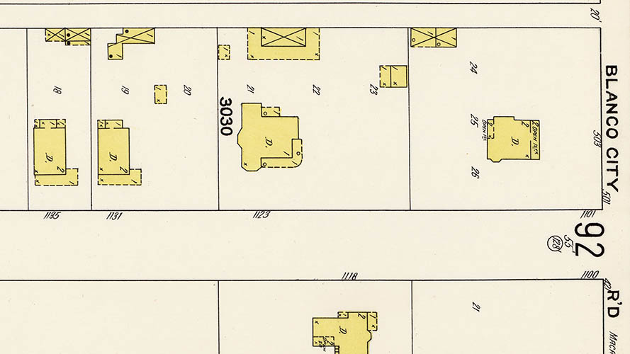 Detail of 1911 map showing Treasure Hill Residence and outbuildings.