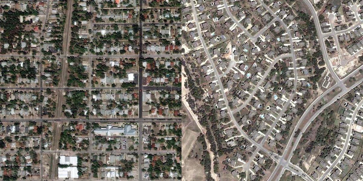 Aerial photos above showing approximately the same portions of San Antonio analyzed below.