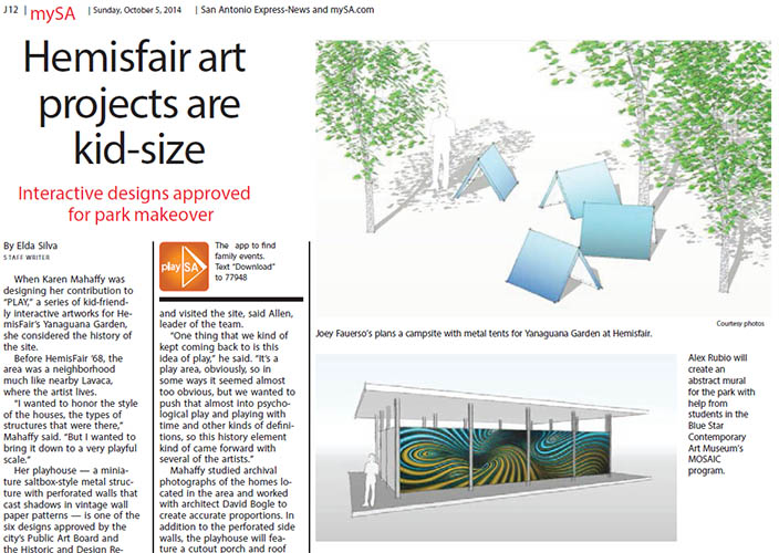 San Antonio Express-News article image:  Hemisfair Art projects are kid-sized