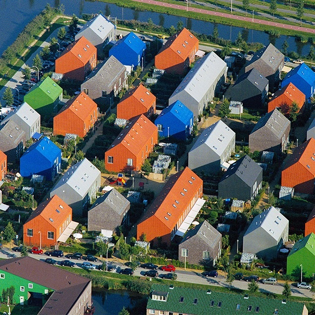 Waterwijk housing, designed by OMA integrates multiple housing types aimed at various income levels.