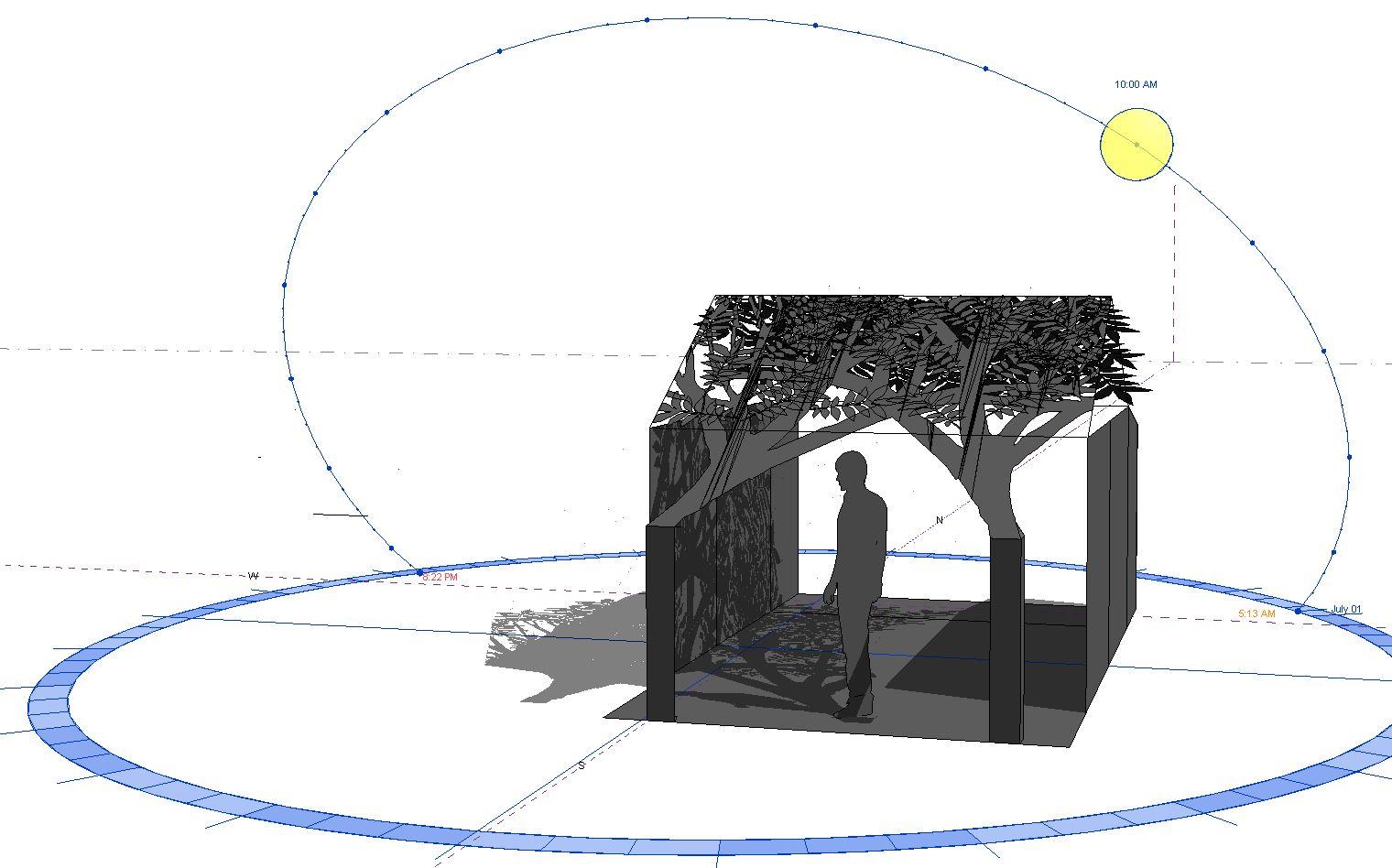 Sun angle study of the Artist's conceptual model